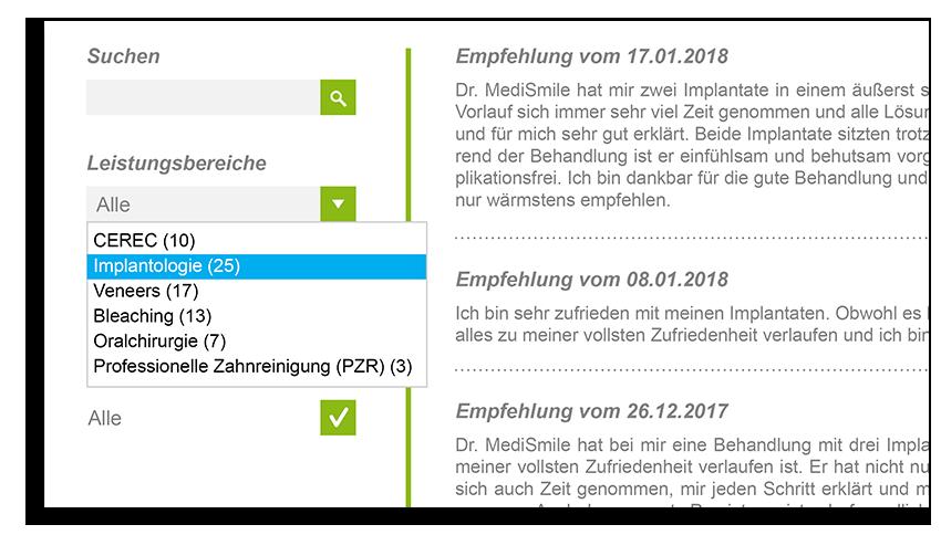 Arzt Klinik Bewertungen Siegel Leistungsbereiche passende Auswahl Behandler