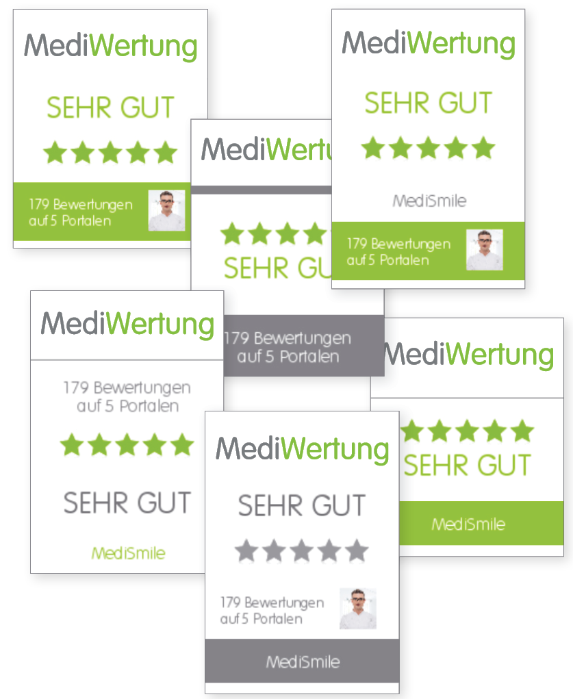 Arzt Klinik Bewertungen Siegel Varianten Corporate Identity Design Google Jameda Facebook