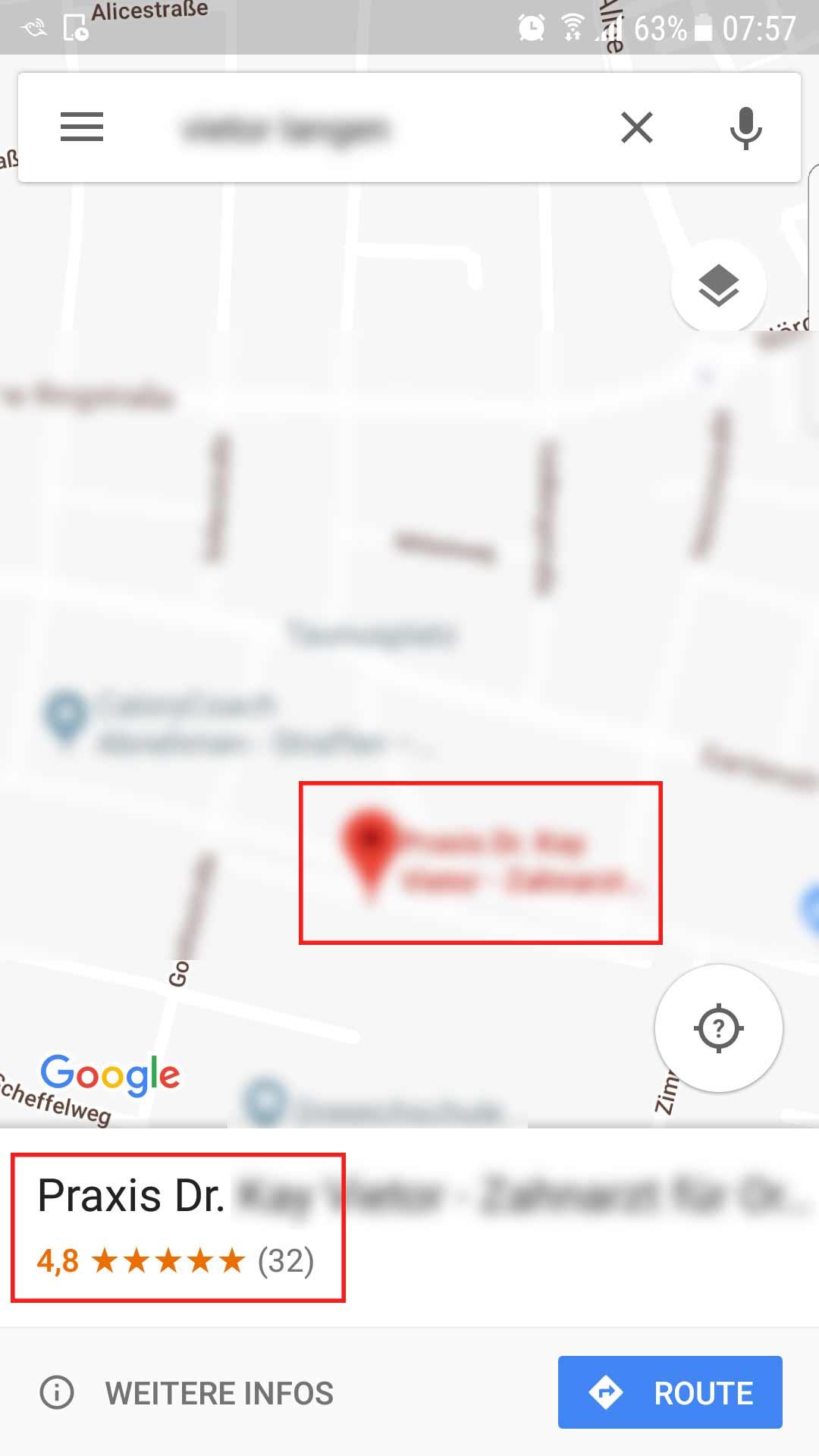 Für die schnelle Suche unterwegs dienen Navigationssysteme, die oft auf Basis von Google Maps funktionieren. Neben den Praxisinformationen wird der Nutzer über den Bewertungsstand informiert und somit werden auch eventuell vorhandene negative Bewertungen angezeigt.