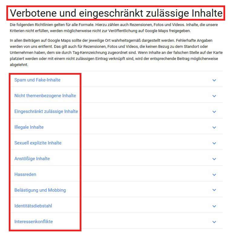 Eigene Inhalte zu Google beitragen. Dafür gelten gewisse Google Richtlinien, die zu beachten sind. So sind Spam und falsche oder illegale Inhalte verboten.