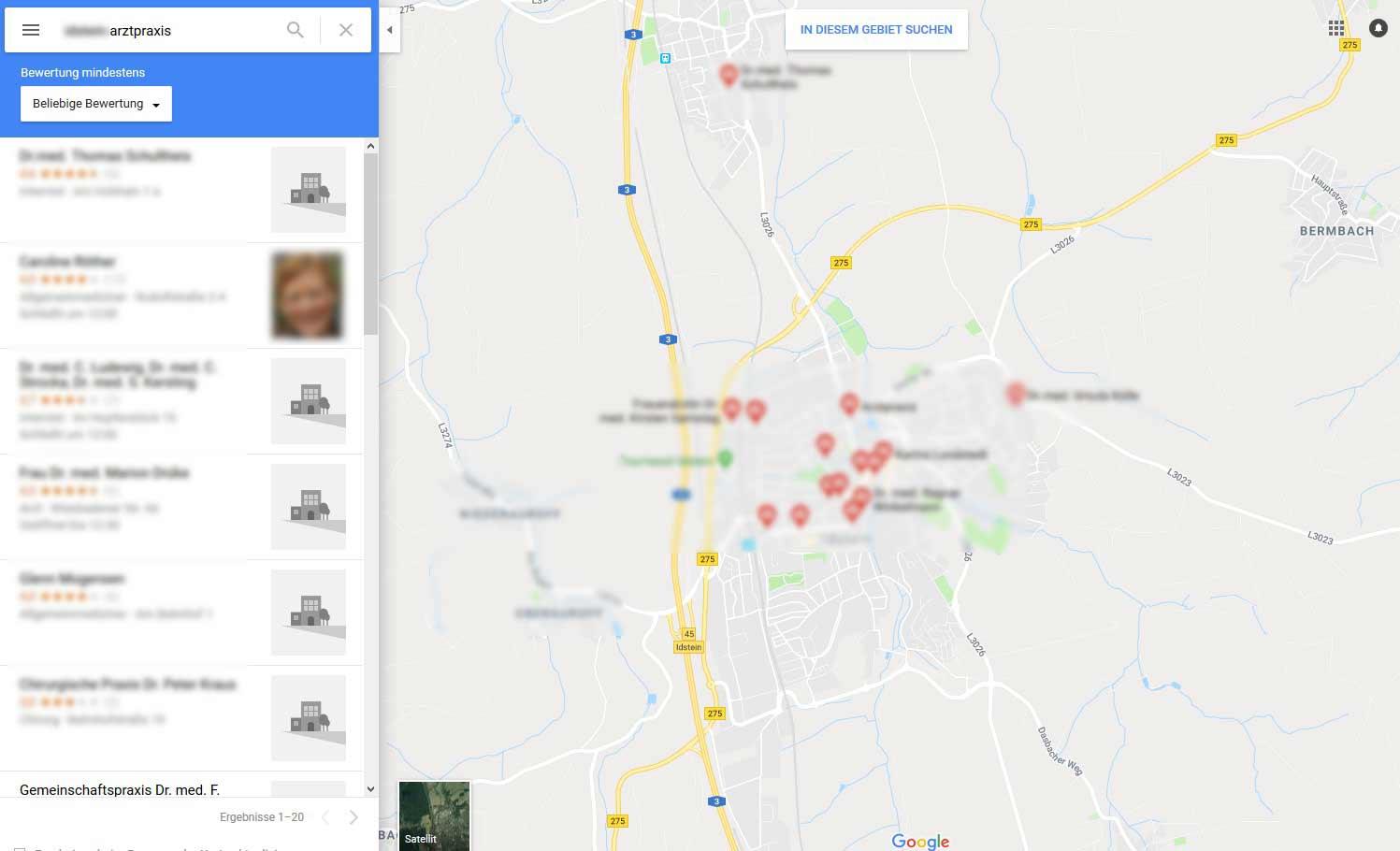 Über den Kartendienst Google-Maps kann der Standort einer Praxis und Klinik genau im Vorfeld betrachtet werden und via Umkreissuche auch schnell zwischen verschiedenen Angeboten verglichen werden. Ausschlaggebendes Argument sind die dargestellten Bewertungssterne, die neben den Praxisinformationen angezeigt werden