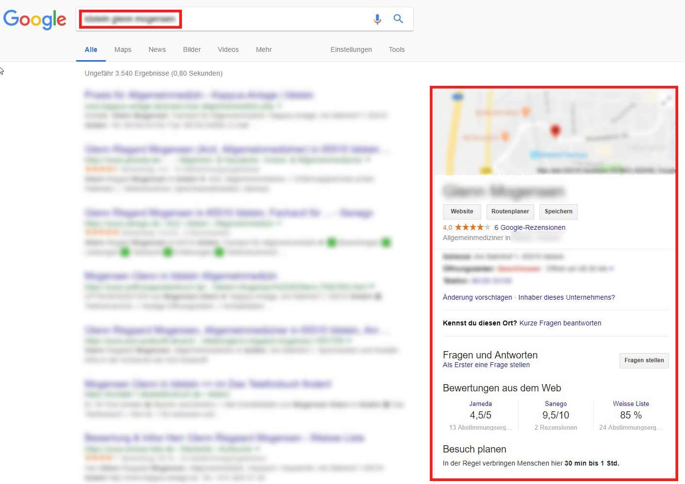 In dem sogenannten Google My Businessprofil werden Kontaktinformationen zur Arztpraxis oder Klinik dargestellt und ein aggregierter Gesamtzustand der Bewertungssituation – ausgehend von den verschiedenen Portalen – dargestellt.