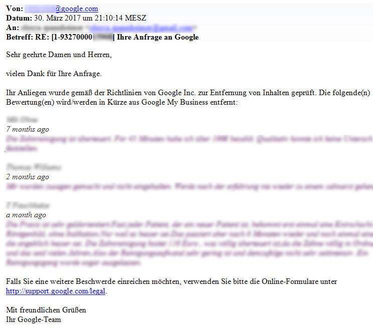 Das Antwort-Schreiben von Google zeigt: Sie können eine negative Google-Bewertung löschen lassen